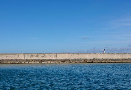 堤防沿いはよい散歩コースですね