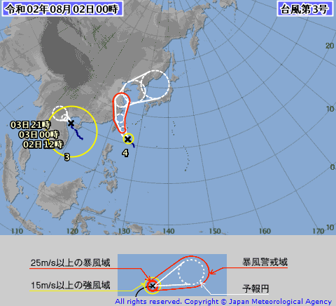 今シーズン、最初の石垣島近海を通過する予報の台風です