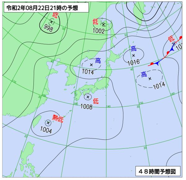8月22日の予想天気図