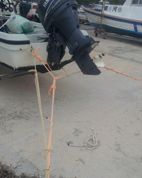 ボートは台風対策でがんじがらめ