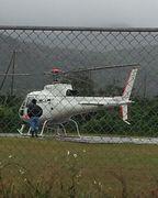 港に向う途中のヘリポート。飛び立っていきました