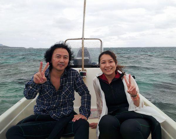 N尾さん、I田さん、初めてのシュノーケルです