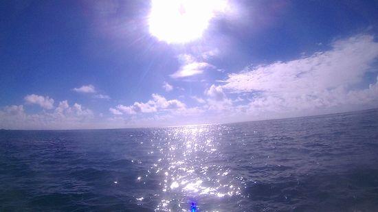 海がキラキラしています。