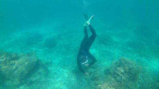 パワフルフィンキックで水中にドボンのお父さん