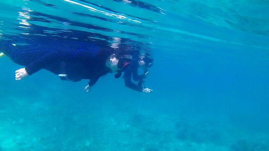 水面に泳いだ時の波紋が広がるくらいに穏やかです