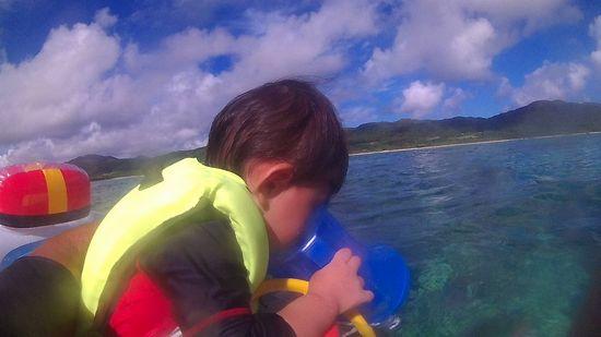 ジョウタロウ君、海にはまっています