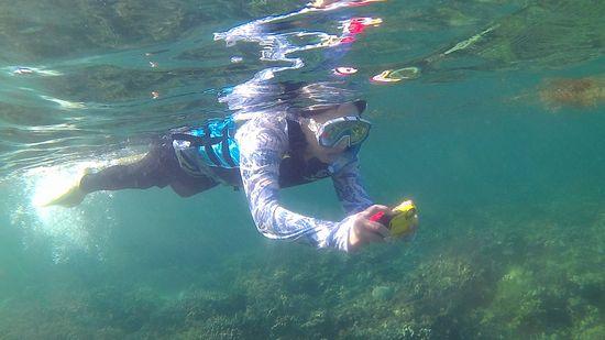T中さんは水中カメラを楽しんでいます。