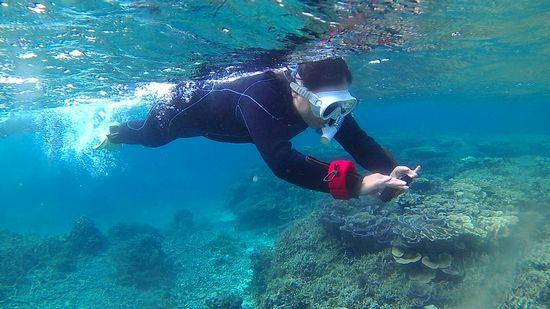 変わらず水中カメラを楽しむK林さん