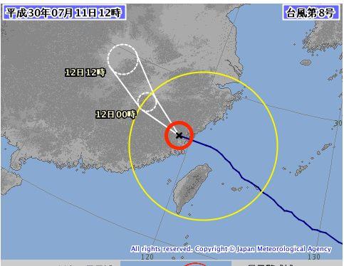 台風8号、石垣島を通過