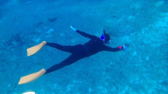 水中撮影しながらドボンの奥さんです。