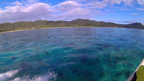 きれいな海の色、穏やかです