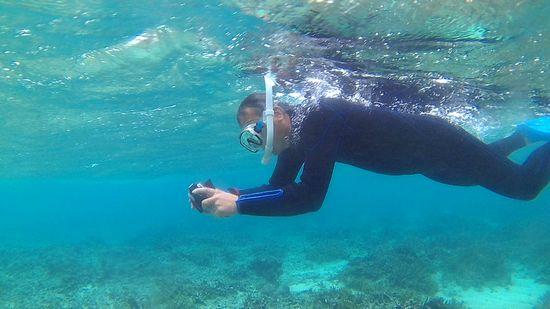 水中カメラを楽しむK野さんです