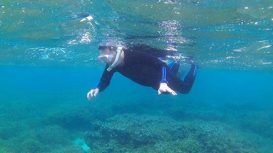 石垣島を初潜り、楽しんでいる旦那さんです