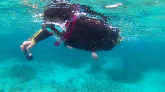 お母さんは、水中カメラで撮影