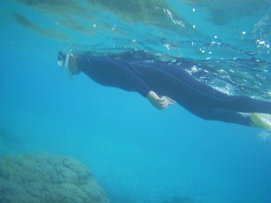 おばあちゃん、一番余裕の泳ぎですね