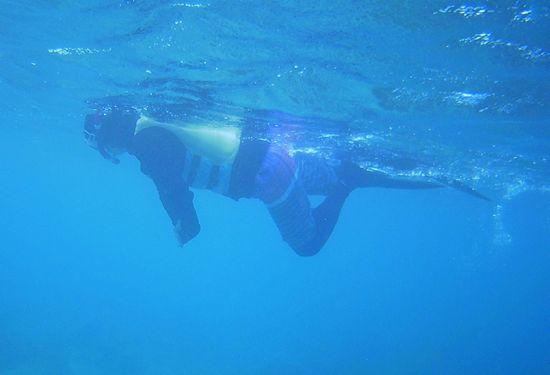 泳げないとのことですが、もうベテランシュノーケラーのお母さん