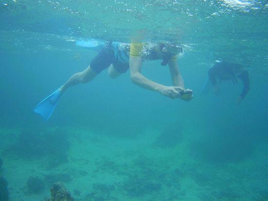 水中写真を楽しむM原さん