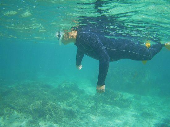 お父さんと余裕の泳ぎです
