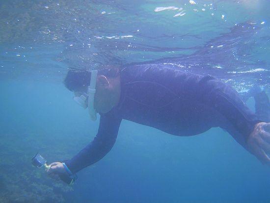 水中撮影を楽しむ旦那さん