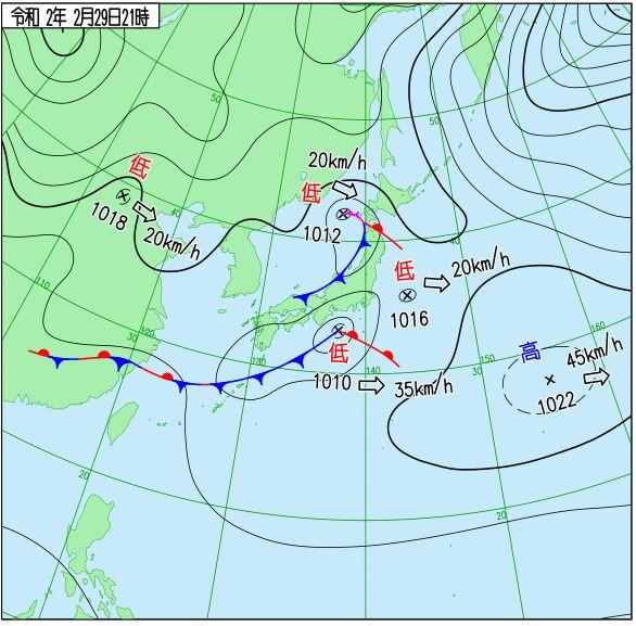 2020年2月29日の天気図