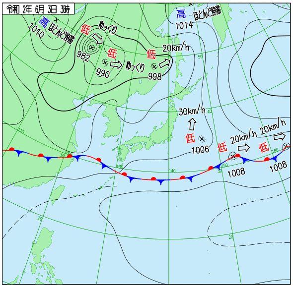石垣島6月3日の天気図