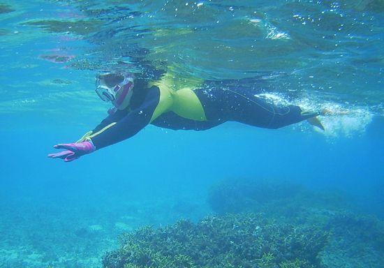 声を出しながら泳いでいます。