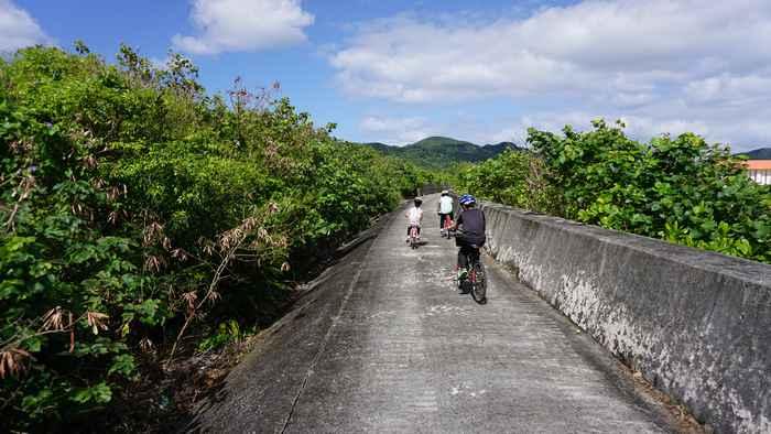 堤防沿いをサイクリング