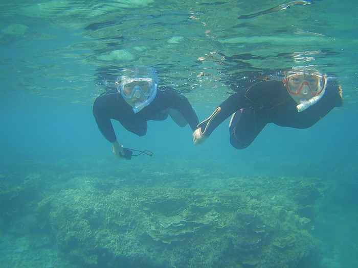 ぐいぐい泳ぐお兄ちゃんとお姉ちゃん