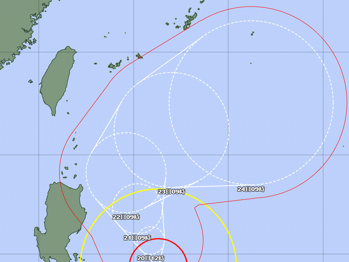 台風2号、石垣島近海の予報