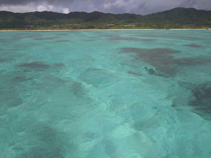 梅雨時期の海、透明度抜群です
