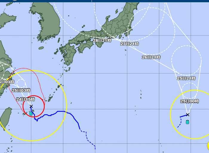 台風6号、やっと石垣島を通過です。