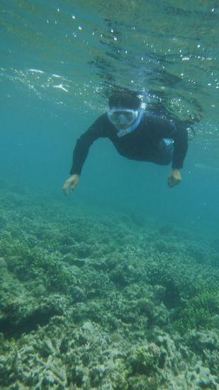 ウエットスーツの浮力にも慣れて泳ぎ回っています。