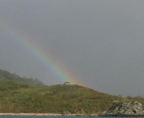 玉取崎展望台に虹