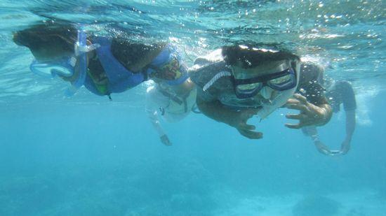 タイチ君もアオト君もすいすい泳ぎます。