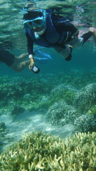 水中カメラで撮影を始めるお兄ちゃん。