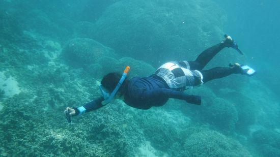 水深4mラインへ潜降です