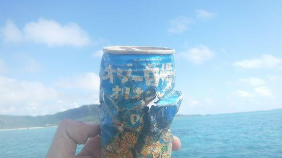 水中ゴミ。オリオンビールの缶です。