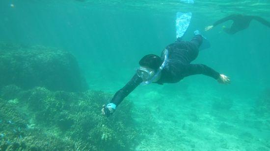 旦那さん、水中での滞在時間が長いです。