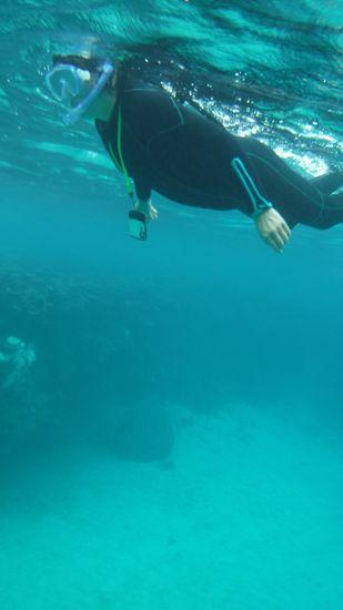 初めてのシュノーケル。良い感じで泳ぐお母さんです。