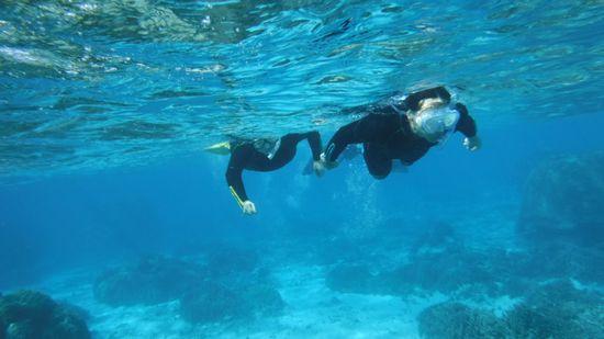 K村さん、サクサク泳ぎまわっています。