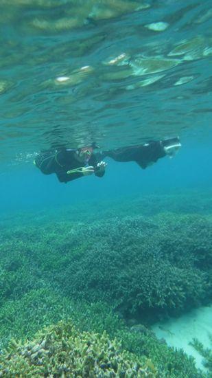 水中カメラでお魚さんを楽しんでいるY田さんです。