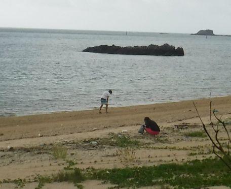 ビーチコーミングを楽しむM島さんご夫婦です。