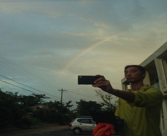 自撮りで虹と笹川です
