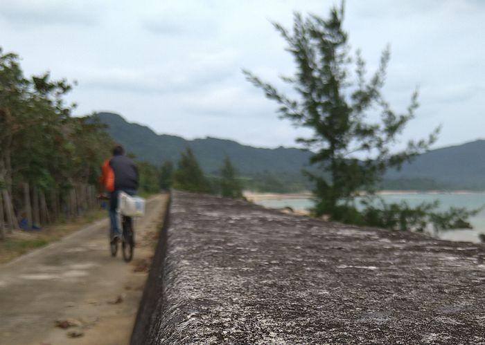 堤防沿いを自転車で通学です♪