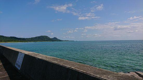 伊野田漁港から玉取崎展望台を見る