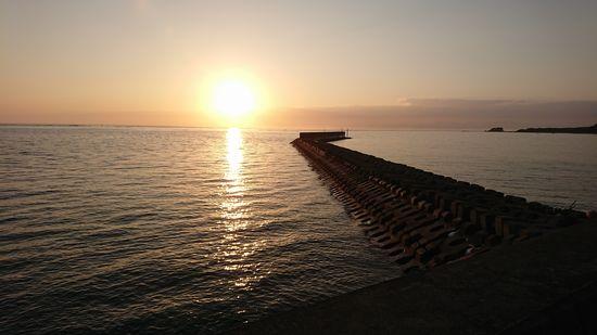 朝日が水面に一筋の光