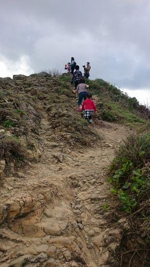 小高い丘に登るちび助たち