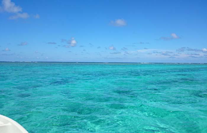 いい天気です。海もいい色です