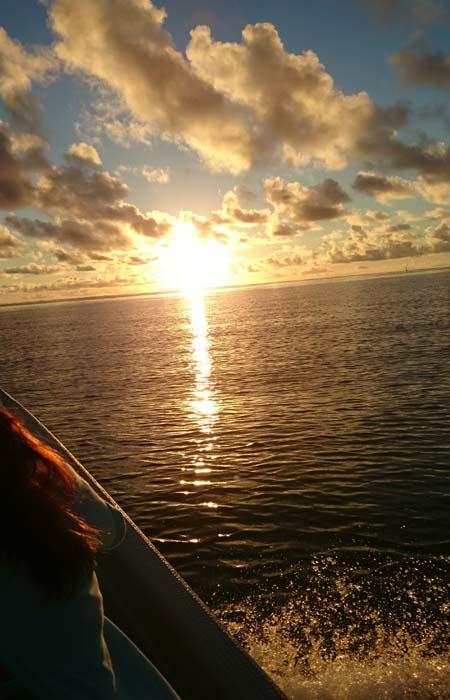 朝日を見ながら出港!早朝シュノーケルです