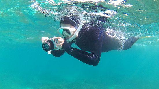 水中撮影を楽しむY田さんです。